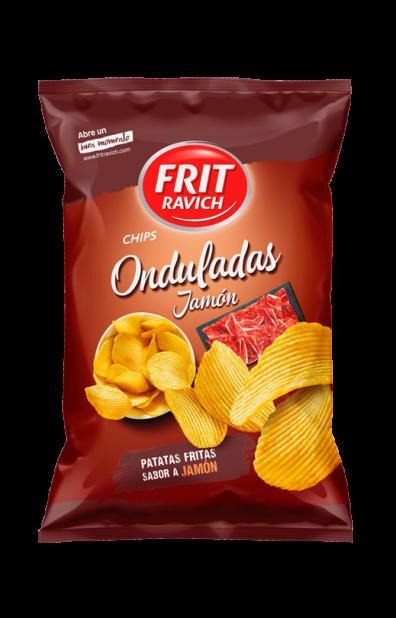Bolsa de patatas Onduladas sabor a jamón Línea Joven Frit Ravich