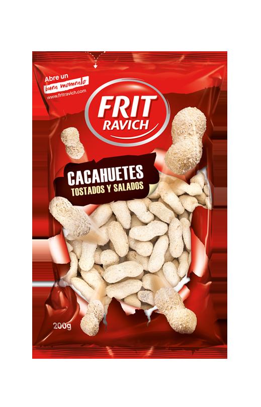 Bolsa de frutos secos Cacahuetes con cáscara tostados y salados Frit Ravich