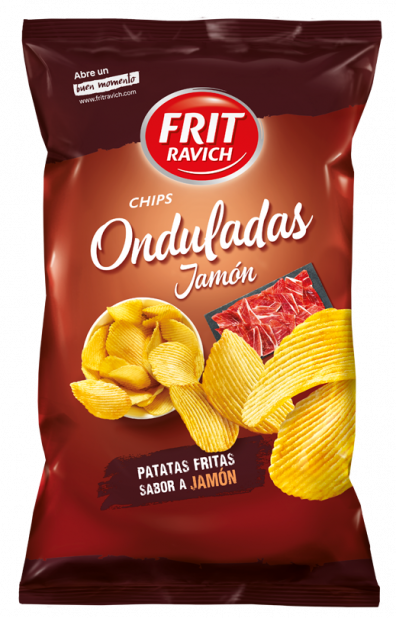 Bolsa de patatas Chips Onduladas jamón Línea joven Frit Ravich